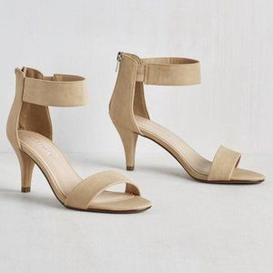 City Classified Taupe Ankle Strap Heel Sandals